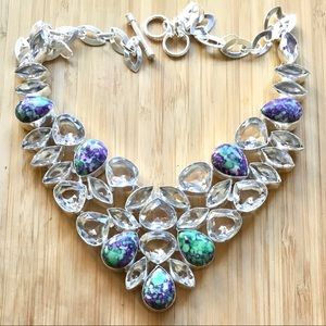 Purple Spotted Turquoise & Clear Topaz Necklace